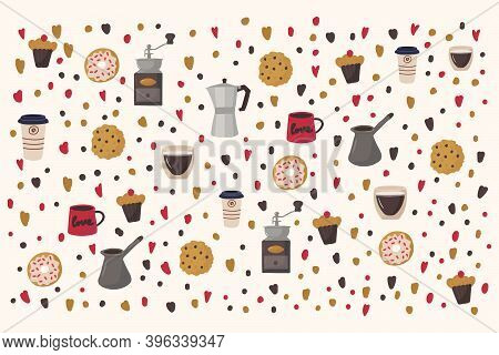 Large Illustration Of Coffee And Various Desserts. Pattern For A Kitchen Or Restaurant. Texture For