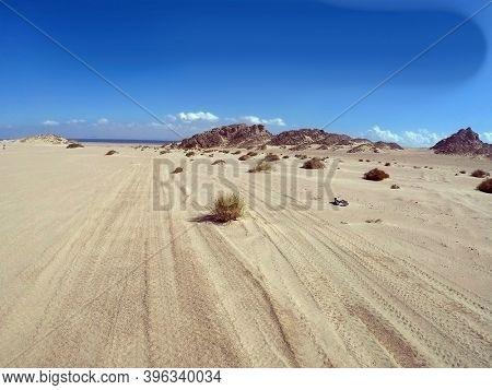 Quad trip on the African desert near Sharm el Sheikh. Desert safari is one of the main local tourist attraction in Egypt. Sharm El Sheikh, Egypt on November 8, 2020