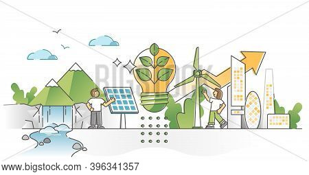 Green Alternative Energy Consumption With Solar Panels And Wind Turbines Electricity Production Outl