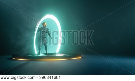 male person in science fiction portal ring, 3D illustration