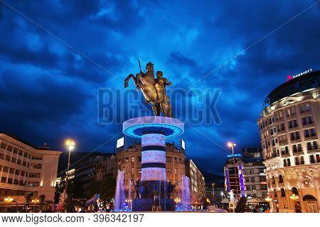 Skopje, Macedonia - 10 May 2018: The Monument In Skopje At Night, Macedonia, Balkans