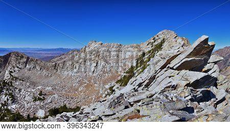 White Baldy Peak Views In Lone Peak Wilderness Mountain Landscape From Pfeifferhorn Hiking Trail, Wa