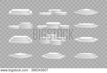 Round And Square Empty Stages And Podium Stairs Vector 3d Template. White 3d Podium Mockup In Differ