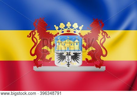 3d Flag Of Valkenburg Aan De Geul (limburg), Netherlands. 3d Illustration.