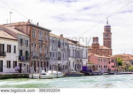 Venice Italy - May 26, 2019: Skyline Of Murano Island, Famous Because Of His Glass, With Houses, Boa