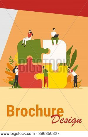 Business Team Putting Together Jigsaw Puzzle Isolated Flat Vector Illustration. Cartoon Partners Wor