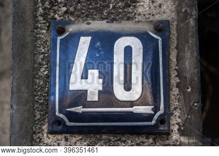 Weathered Grunge Square Metal Enameled Plate Of Number Of Street Address With Number 40
