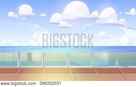 Cruise Liner Deck Or Quay With Glass Baluster, Empty Ship With Wooden Floor And Plexiglass Fencing.