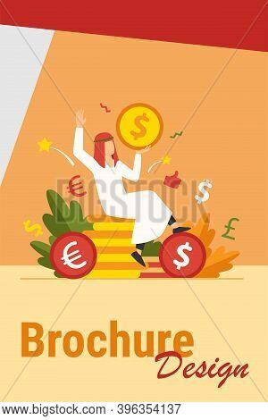 Arabian Man Sitting On Pile Of Gold Coins. Dollar, Cash, Money Flat Vector Illustration. Finance And