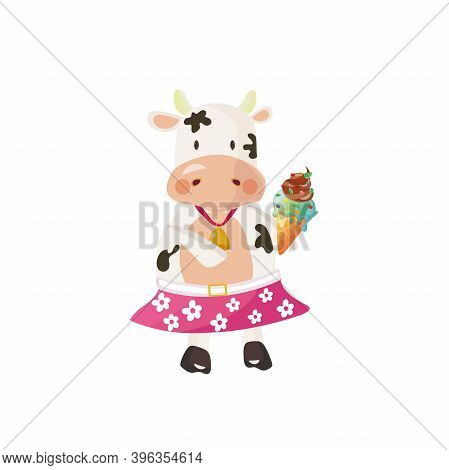 White Cow Wearing A Pink Skirt With Daisies Eating Ice Cream. Vector Illustration.