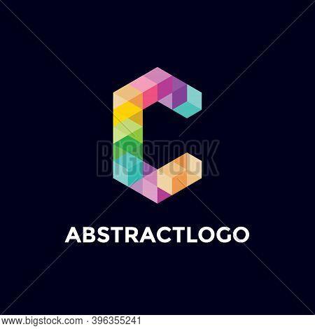 C Colorful Letter Logo Unique Icon, Alphabet C Modern Monogram Design.