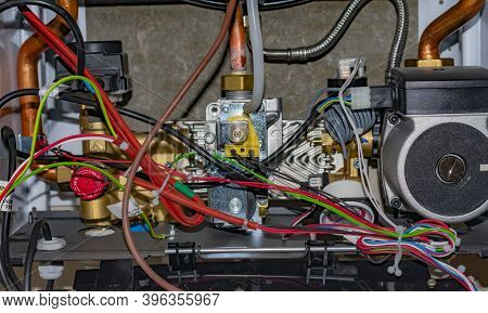 Internal View Of The Gas Boiler To Heat Your Home.