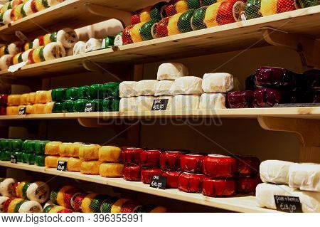 Amsterdam, Netherlands 24 12 2019 Different Types Of Dutch Cheese In Cheese Shop. Assortment Of Chee