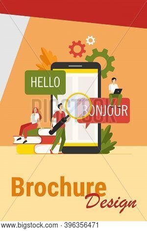 Translating App On Mobile Phone. People Using Online Translation Service, Translating From English I