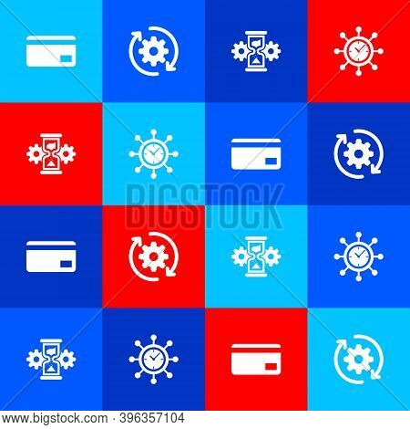 Set Credit Card, Gear And Arrows As Workflow, Hourglass Gear And Clock Icon. Vector