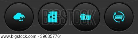 Set Music Streaming Service, Share File, Folder Upload And Refund Money Icon. Vector