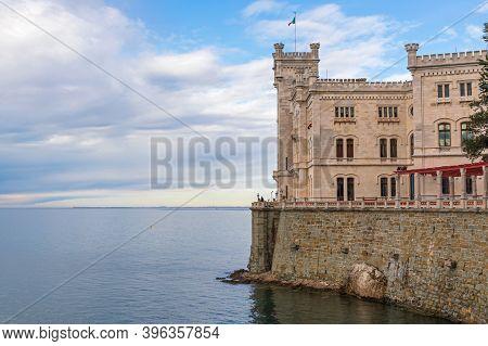 Trieste, Italy - March 7, 2020: Historic Castle Miramare At Adriatic Sea Coast In Trieste, Italy.