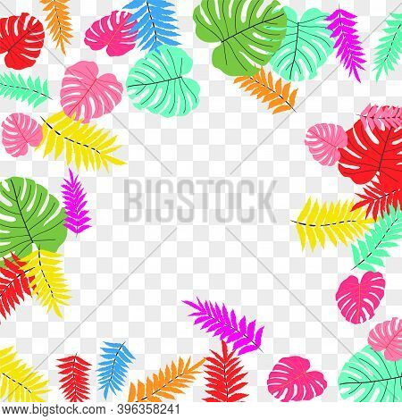 Vector Tropical Pattern From Colorful Foliage. Festive Decoration. Beautiful Spring Garden. Summer G