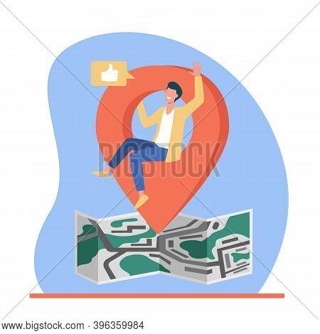 Map Location Pointer. Man Sharing His Locate On Social Media Flat Vector Illustration. Communication