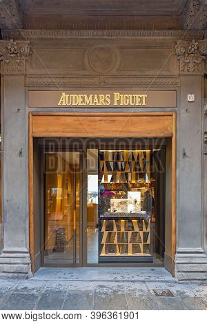 Florence, Italy - February 2, 2018: Audemars Piquet Watch Shop At Ponte Vecchio In Florence, Italy.