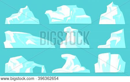Various Icebergs Set. White Icy Mountains With Crystal Snow Isolated On Pale Blue Background. Vector