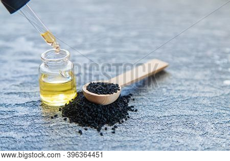 Essential Oil Of Black Cumin.selectiv Focusb Nature Food