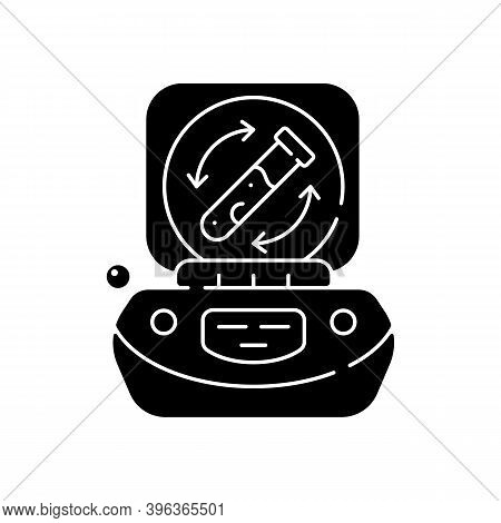 Lab Centrifuge Black Glyph Icon. Spinning Vessel Containing Material At High Speed. Fluids, Liquid S