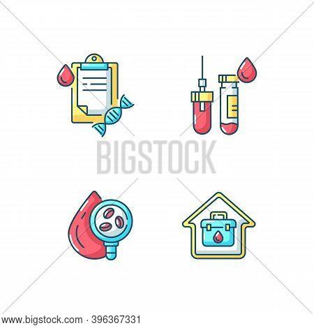 Blood Check Rgb Color Icons Set. Analyze Fluid For Illness. Hospital Exam. Tube With Needle. Home Do