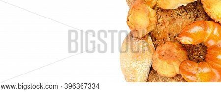 Assortment Of Bread, Buns, Croissant, Biscuits, Biscuits, Biscuits, Pastries, Muffins Isolated On Wh