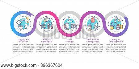 Pharyngitis Treatment Vector Infographic Template. Salt Water, Warm Liquids Presentation Design Elem