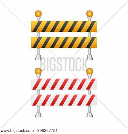 Under Construction Barrier. Road Closed On White Background. Fence Of Building Or Repair Works Sign.
