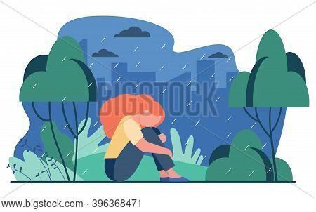 Unhappy Girl In Rain. Sad Woman Sitting In Rainy Park Outdoors Flat Vector Illustration. Depression,