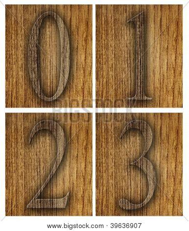 Teak wood 0-3 blocks with letters