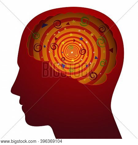 Silhouette Of A Person With Confused Thoughts, Symbol For Confusion, Dizziness, Vector Illustration