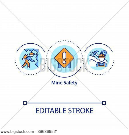 Mine Safety Concept Icon. Mining-related Activities Controlling Idea Thin Line Illustration. Fatalit