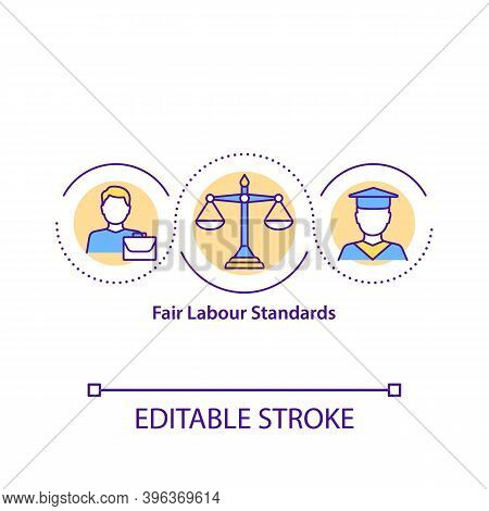 Fair Labour Standards Concept Icon. Employment Relationships Idea Thin Line Illustration. Establishi