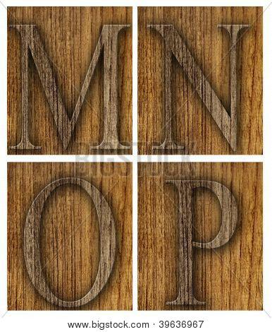 Teak wood M-P blocks with letters