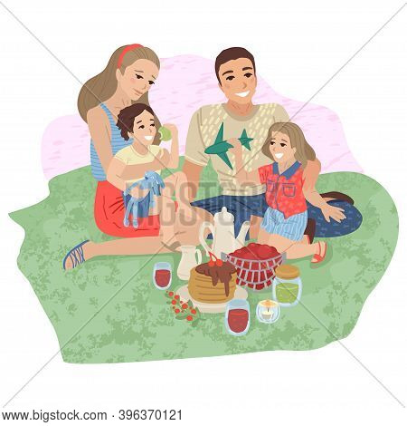 Happy Family On Picnic. Vector Cartoon Illustration