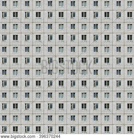 Seamless Pattern From Picture Of A Prefabricated Concrete Building Facade With Gray Colors, A Symbol