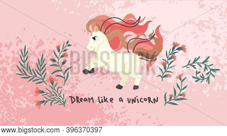 Unicorn With Flowers. Cute Cartoon Pony On Pink Background. Childrens Vector Illustration. Horizonta