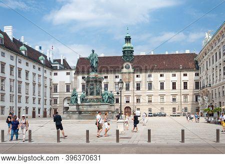 Vienna, Austria - July 31, 2019: Hofburg Palace Complex, Monument To Austrian Kaiser (emperor) Franz