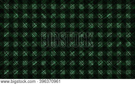 Black White Green Vintage Checkered Background. Space For Graphic Design. Checkered Texture. Classic