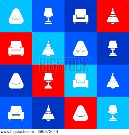 Set Pouf, Table Lamp, Armchair And Chandelier Icon. Vector