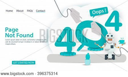 Oops, 404 Error, Page Not Found, Banner With Internet Connection Problems, Robot Near Figures With D