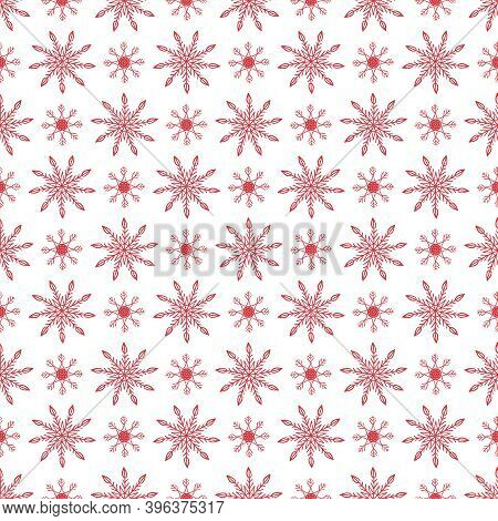 Merry Christmas Pattern Background. Scandinavian Style Winter Pattern With Snowflakes. Pagan New Yea