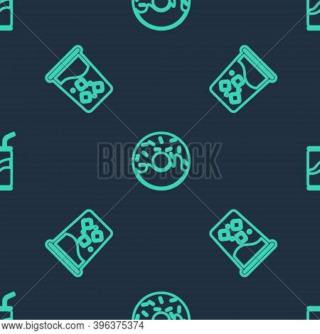Set Line Donut, Glass With Water And Soda Can Drinking Straw On Seamless Pattern. Vector