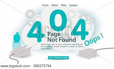 Oops 404 Error, Page Not Found, Banner Internet Connection Problems, Numbers And Disconnected Connec