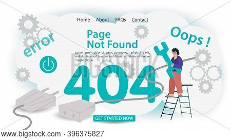 Oops 404 Error, Page Not Found, Banner Internet Connection Problems, Man With A Ladder Repair Tool,