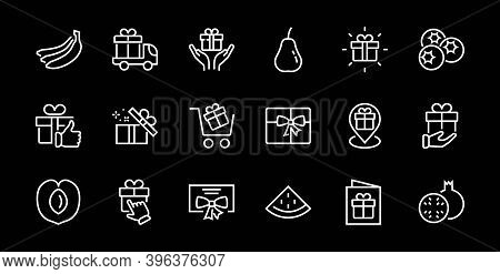 Gifts Linear Icons Set Contains Gift Box, Gift Buying, Gift Delivery, Gift Geolocation Mobile Applic