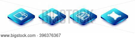Set Isometric Line Cardboard Box With Traffic, Search Barcode, And Barcode Icon. Vector
